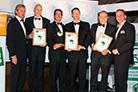 Award ceremony Carton of the Year 2013: Andreas Blaschke, President ECMA; Lorenzo Delorenzi, Van Genechten; Frederic De Somer, Van Genechten; Clemens Stockinger, Mayr-Melnhof Karton; Roland Rex, President Pro Carton