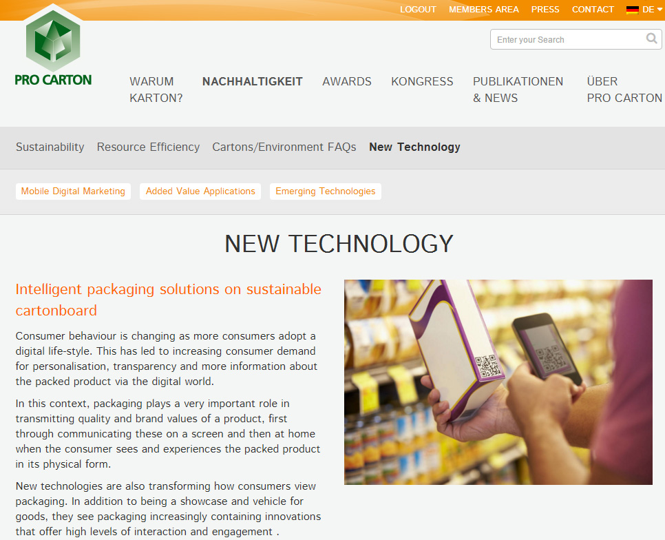 New Technology – new Pro Carton website