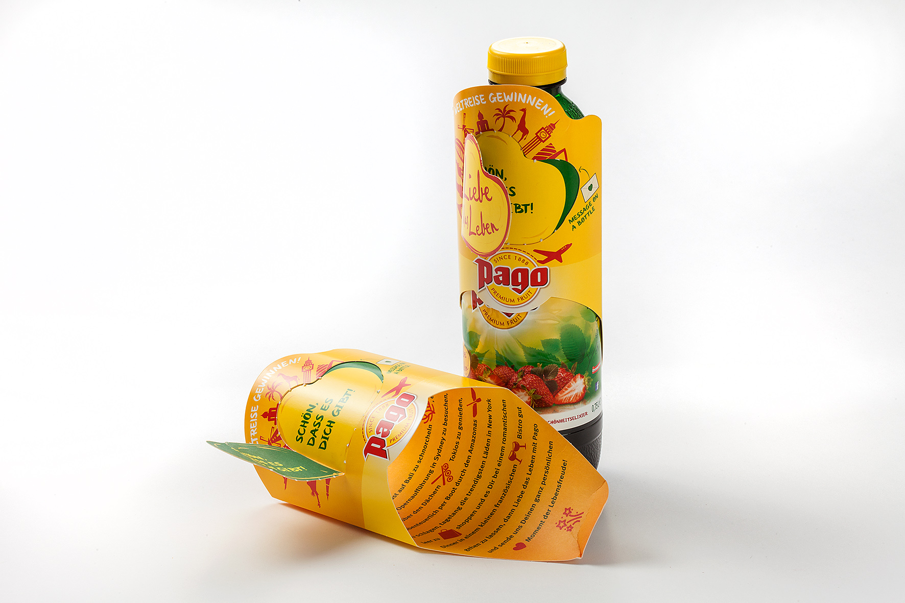 Message on a bottle – Pago fruit juice Carton Sleeve