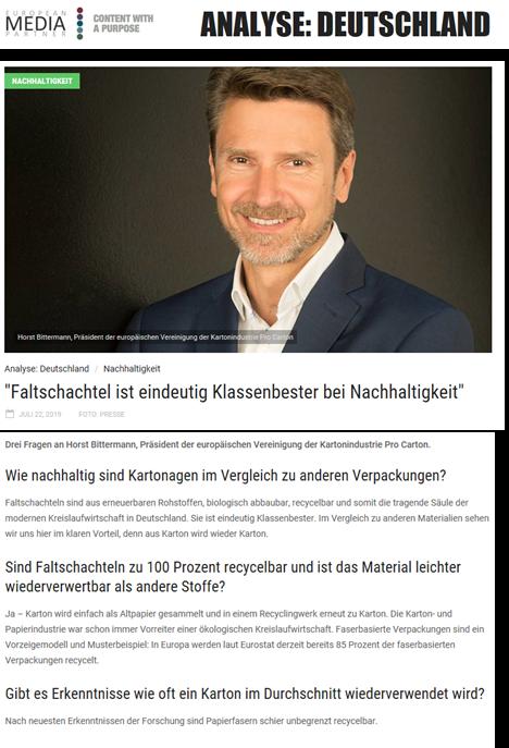 Drei Fragen an Horst Bittermann, Präsident der europäischen Vereinigung der Kartonindustrie Pro Carton - Analyse: Deutschland