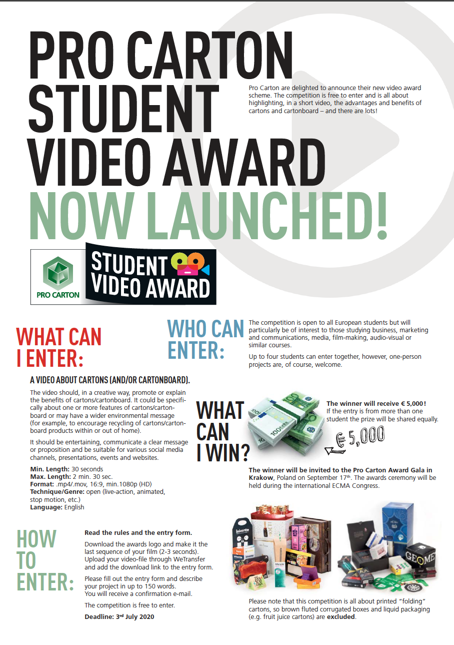 PRO CARTON STUDENT VIDEO AWARD TWO PAGE LEAFLET