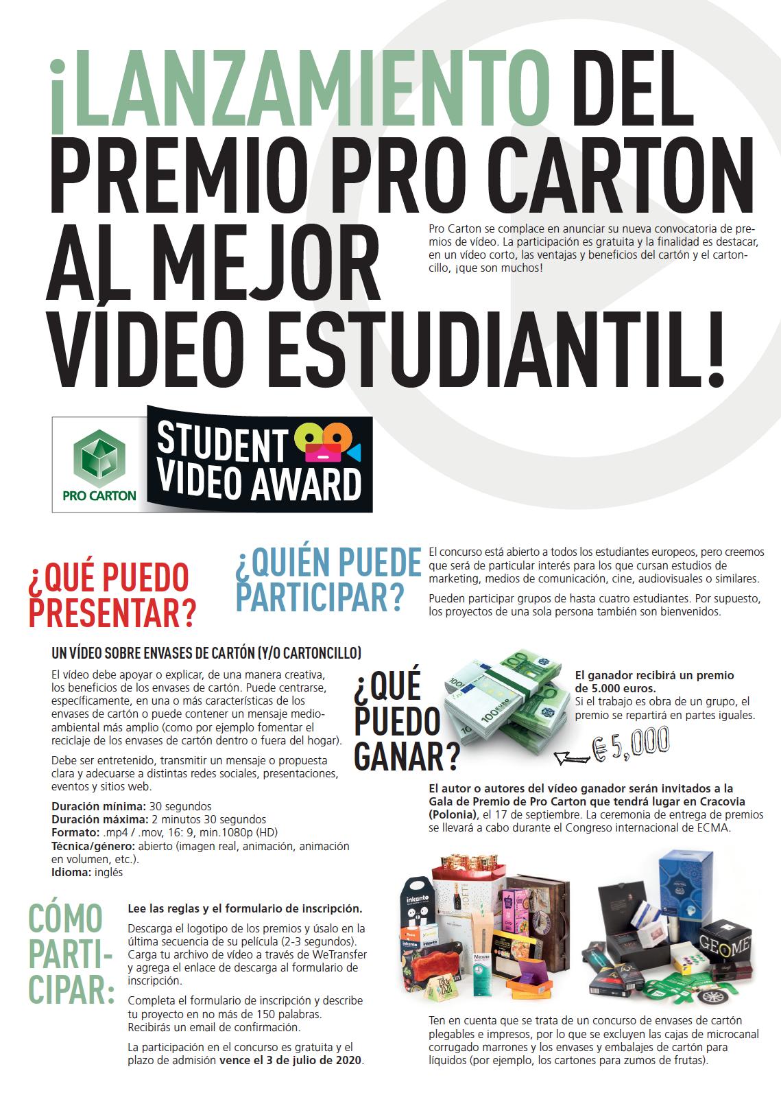 Pro Carton Student Video Award FOLLETO DE DOS PAGINASil!