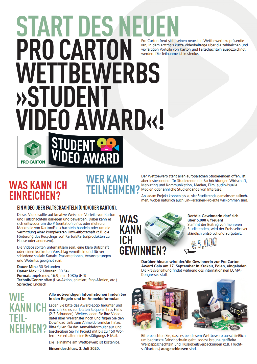 PRO KARTON STUDENT VIDEO AWARD ZWEISEITIGES FALTBLATT
