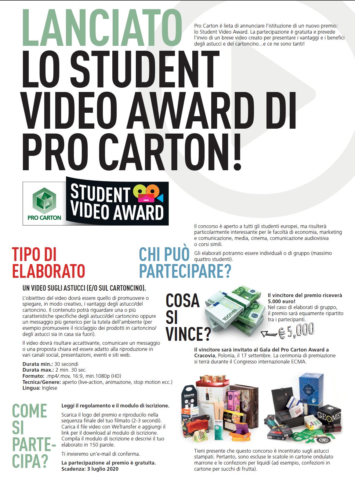 Student Video Award di Pro Carton DUE PAGINE DI VOLANTINO