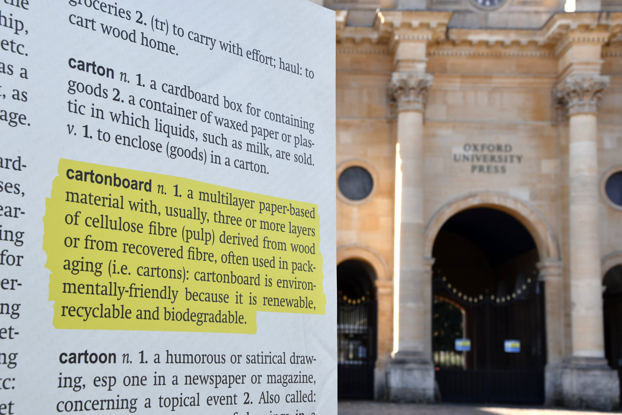 Have a word! Students gather to support campaign to get 'cartonboard' into the Oxford English Dictionary