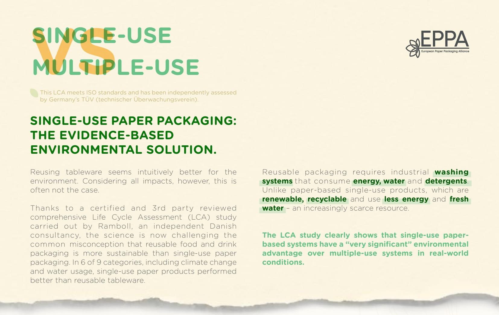 EPPA LCA study - Single-Use Paper Packaging vs Multiple-Use Tableware