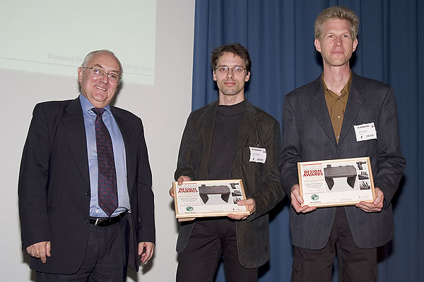 Philipp Prause (R) and Bernhard Barkow with Mike Clark, President of Pro Carton